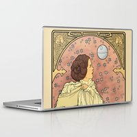 large Laptop & iPad Skins featuring La Dauphine Aux Alderaan by Karen Hallion Illustrations