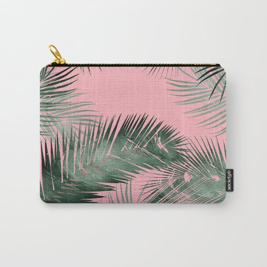 pinK!, tropical leaves!! Carry-All Pouch