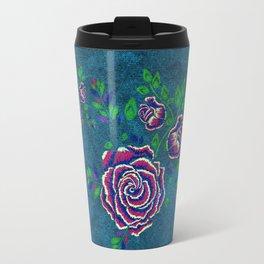 Purple embroidered rose Travel Mug