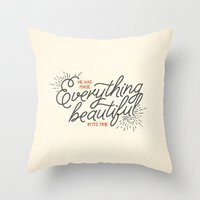 pocketfuel Throw Pillows featuring EVERYTHING BEAUTIFUL by Pocket Fuel