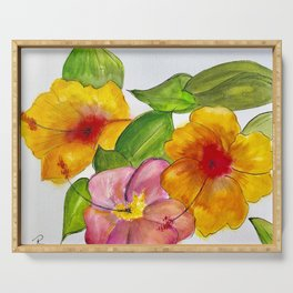 Hibiscus Flowers Serving Tray