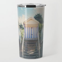 beach huts photograph Travel Mug