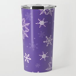 snowflakes on the blue Travel Mug