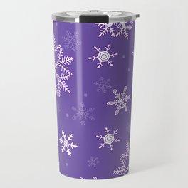 snowflakes on the blue Travel Mug