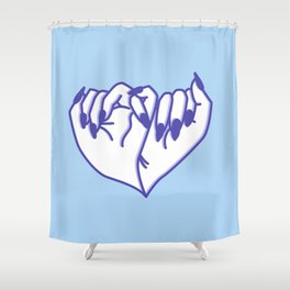 Best Friend Galentine's Day Pinky Promise in Solo Blue Shower Curtain