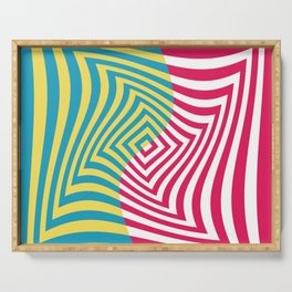 Colorful distorted Optical illusion art Serving Tray