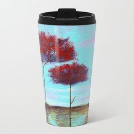 Cherished, Landscape Skinny Red Trees Travel Mug