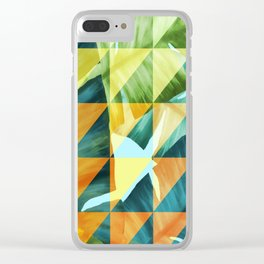 Abstract Geometric Tropical Banana Leaves Pattern Clear iPhone Case