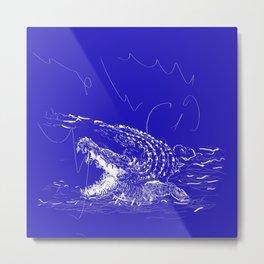 Blue crocodile!! Metal Print