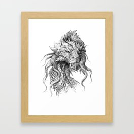 Dark Side Japanese Dragon portrait | Graphite Pencil art Framed Art Print