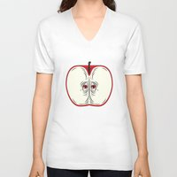 anxiety V-neck T-shirts featuring Anxiety Apple by Nicholas Ely