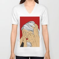 introvert V-neck T-shirts featuring Introvert 4 by Heidi Banford
