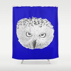 Snowy Owl Bright Blue Shower Curtain