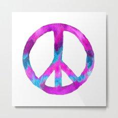Purple Blue Watercolor Peace Sign Metal Print