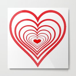 RED VALENTINES HEARTS IN HEARTS ART Metal Print