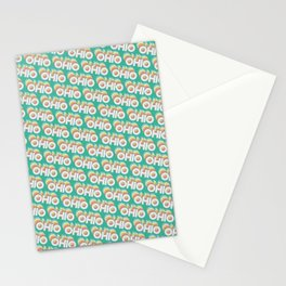 Ohio, USA Trendy Rainbow Text Pattern (Teal) Stationery Cards