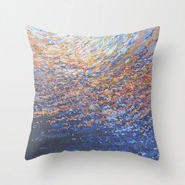 Illuminated Ocean Waves at Sunset Throw Pillow
