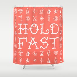 Uncle Knuckles - Hold Fast - Living Coral Shower Curtain