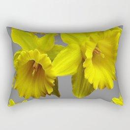 YELLOW DAFFODILS CHARCOAL GREY FLORAL Rectangular Pillow