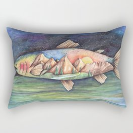 Rainbow Trout and Mountains Rectangular Pillow