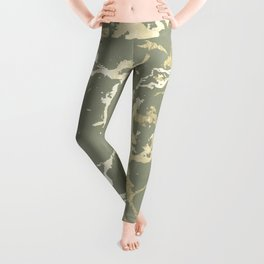 Kintsugi Ceramic Gold on Green Tea Leggings