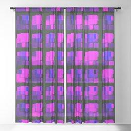 Interweaving tile of violet intersecting rectangles and dark bricks. Sheer Curtain