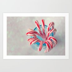 Happy Holidays, Christmas and Winter Photography, Candy Cane Art Print