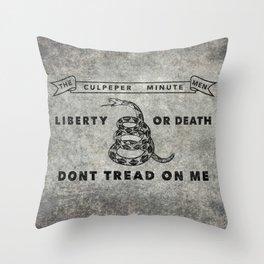 Culpeper Minutemen flag, Vintage Grunge Throw Pillow