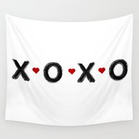 xoxo Wall Tapestries featuring xoxo by Indigo Linen Paperie