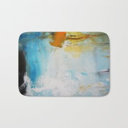 Blue Abstract painting Print  Bath Mat