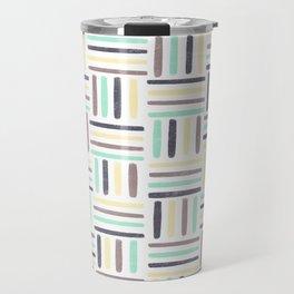 Linear Weave //Basket Weave Design, Pastel colours, green, black, brown, yellow Travel Mug