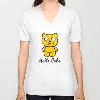 jake V-neck T-shirts featuring Hello Jake by Faniseto
