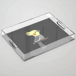 Cute cockatiel Acrylic Tray
