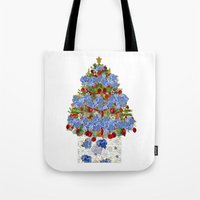 cape cod Tote Bags featuring A Cape Cod Christmas by KarenHarveyCox