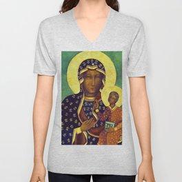 Virgin Mary Our Lady of Czestochowa Poland Black Madonna and Child Religion Christmas Gift Unisex V-Neck
