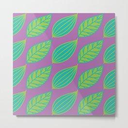 Bright Leaves on Purple Metal Print