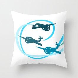 Blue Aerobatic Planes Throw Pillow