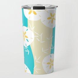 Beachy Sand Dollars + Sandpipers Pattern Travel Mug