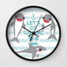 Lets go surfing. Cartoon kawaii dolphin Wall Clock