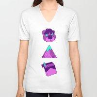 physics V-neck T-shirts featuring Night Physics by Night Physics