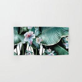 Banana leaf tropical paradise, leaves, hibiscus, Hawaii Hand & Bath Towel