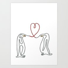 Penguins in love single line drawing Art Print