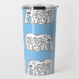 Polar Bears Blue and White Pattern Travel Mug