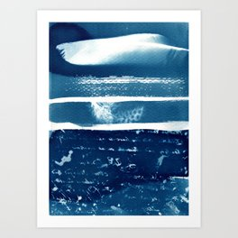 Fragments of the Past (21), art print, collage, blue print, cyanotype print, wall art, wall decor Art Print