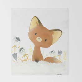 Little fox and flowers Throw Blanket