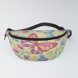 Spring Flowers and Butterflies Mandala by Soozie Wray Fanny Pack