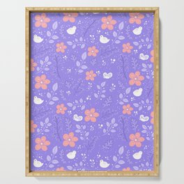 Cute bird and flower pattern Serving Tray