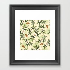 Delicate pattern with flowers and butterflies hips Framed Art Print