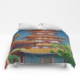 Japanese Woodblock Print Vintage Asian Art Colorful woodblock prints Pagoda Shinto Shrine Comforters