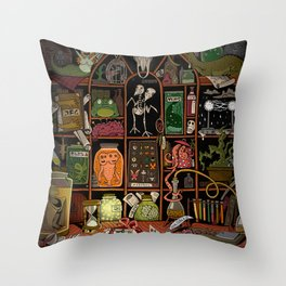 Cabinet of Curiosities (color) Throw Pillow